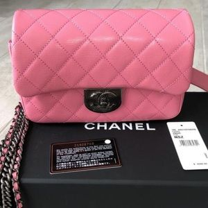 CHANEL Goat Skin Small Flap Bag with Chain Waist